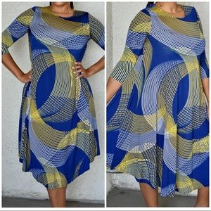 New Blue And Yellow 3/4 Sleeve Swing Dress